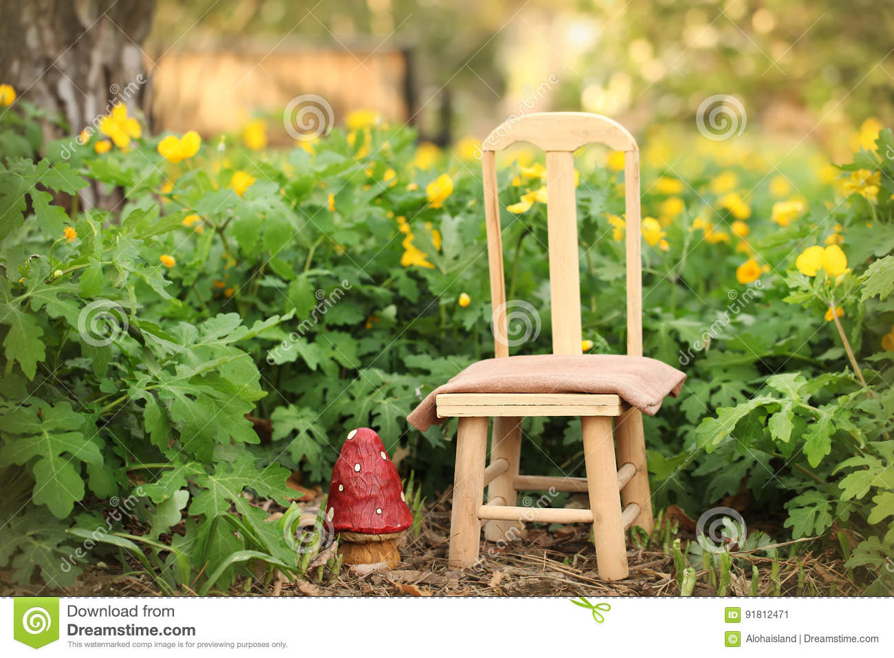Digital background of outdoor spring garden scene and small wooden chair for use with newborn baby or child photography