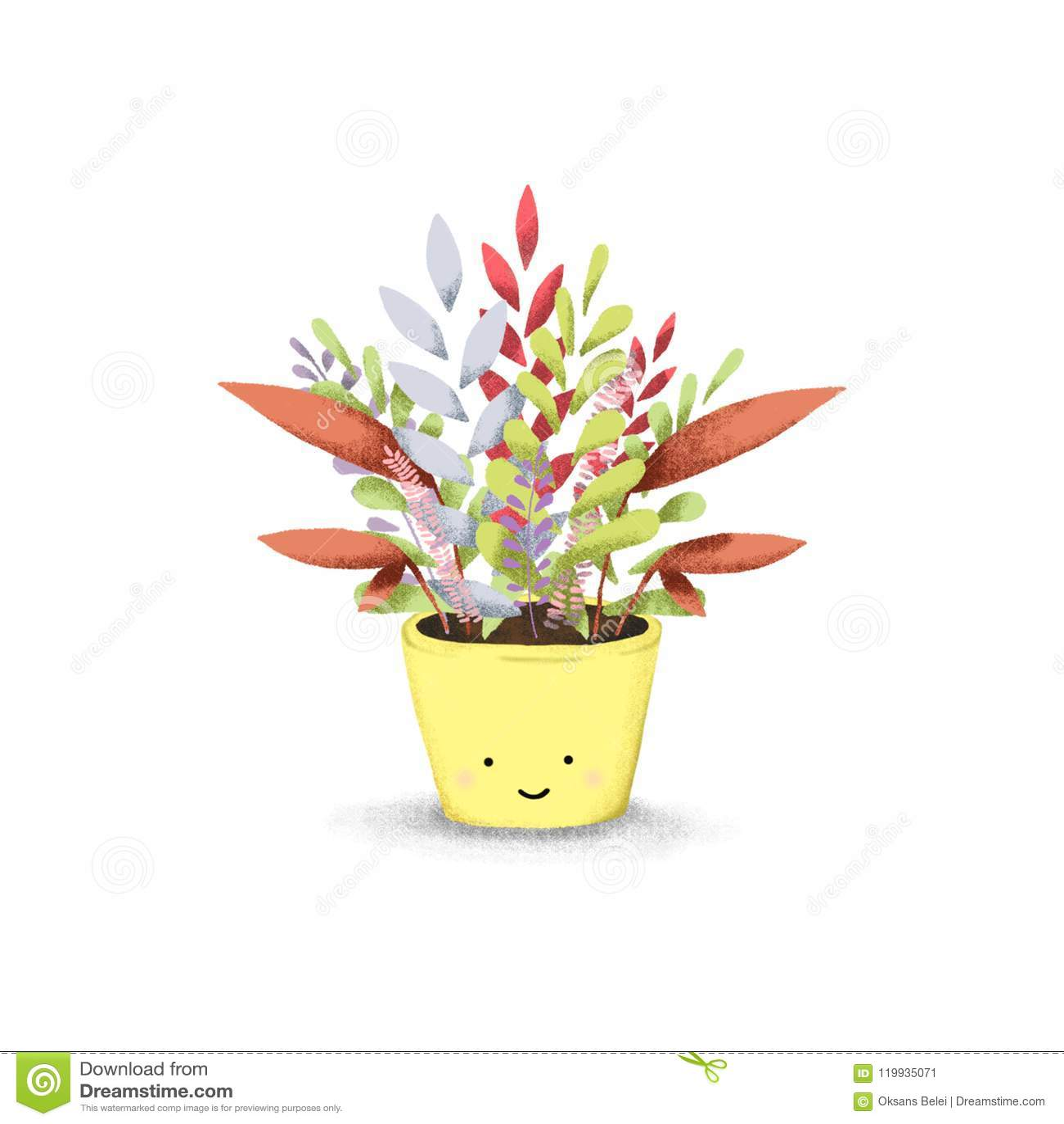 Digital Plant Illustration Hand Draw Illustration Stock Illustration Illustration Of House Isolated 119935071