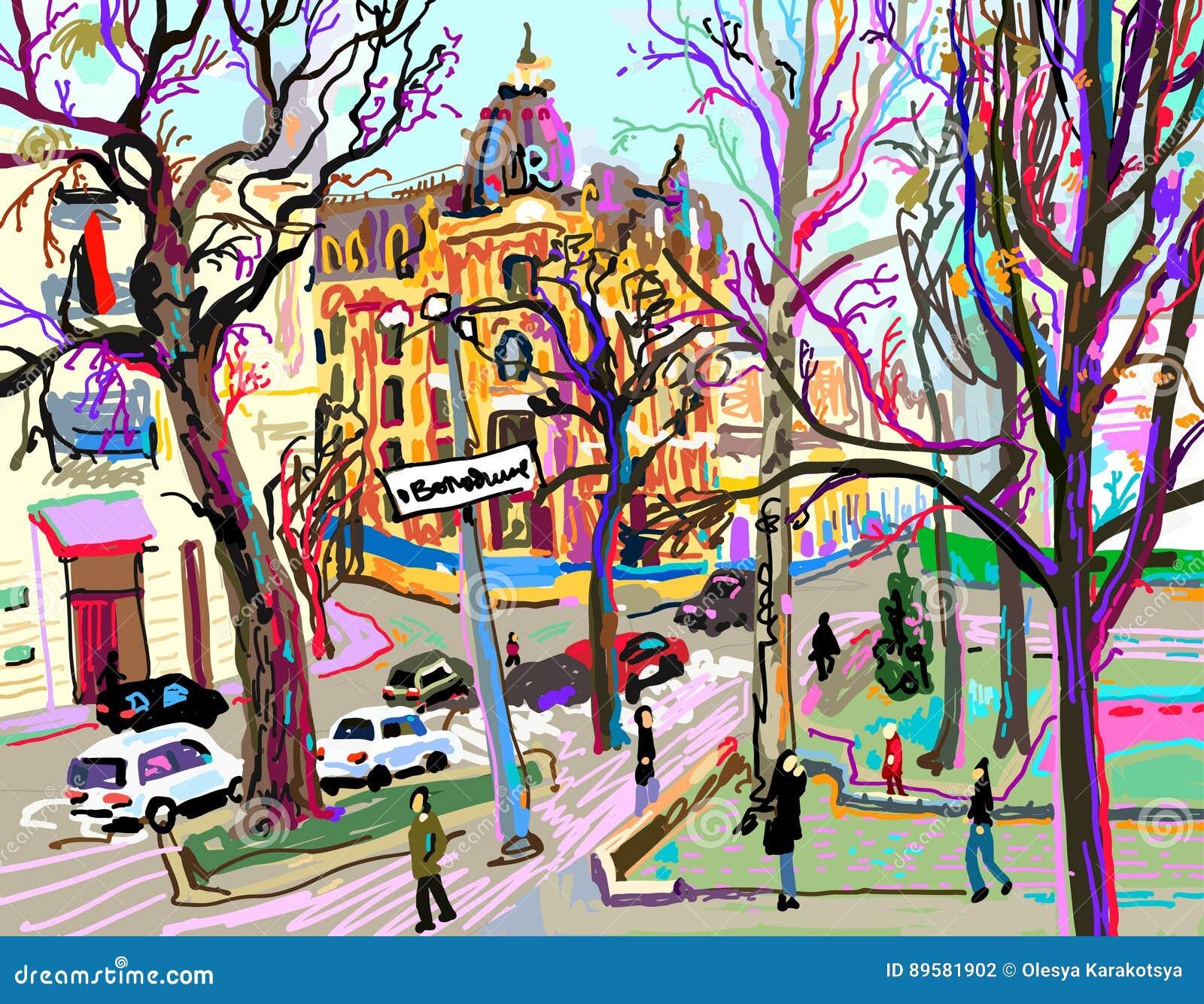 Digital plein air painting of Kiev street cityscape in spring