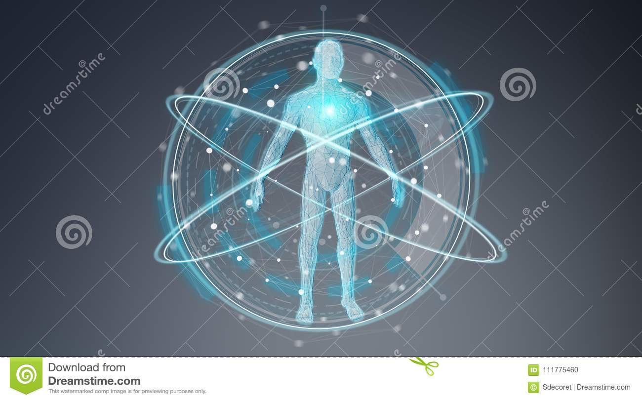 Digital x-ray human body scan background interface 3D rendering