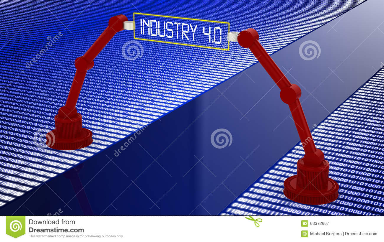 Digital Road To Industry 4.0 Concept Stock Illustration