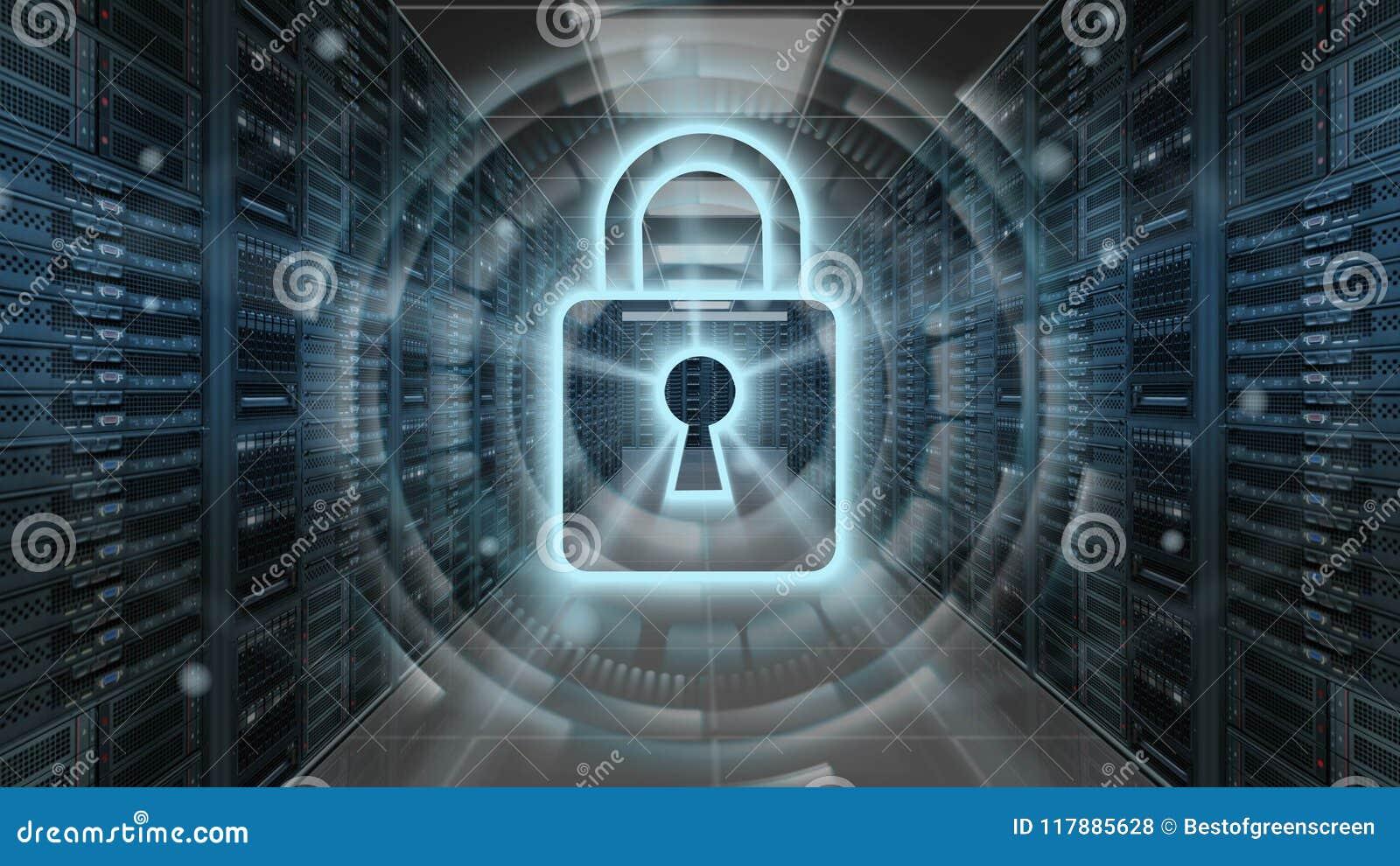 Digital säkerhetshologram med hänglåset på serverrum - Cybersäkerhet eller nätverksskydd - tolkning 3D