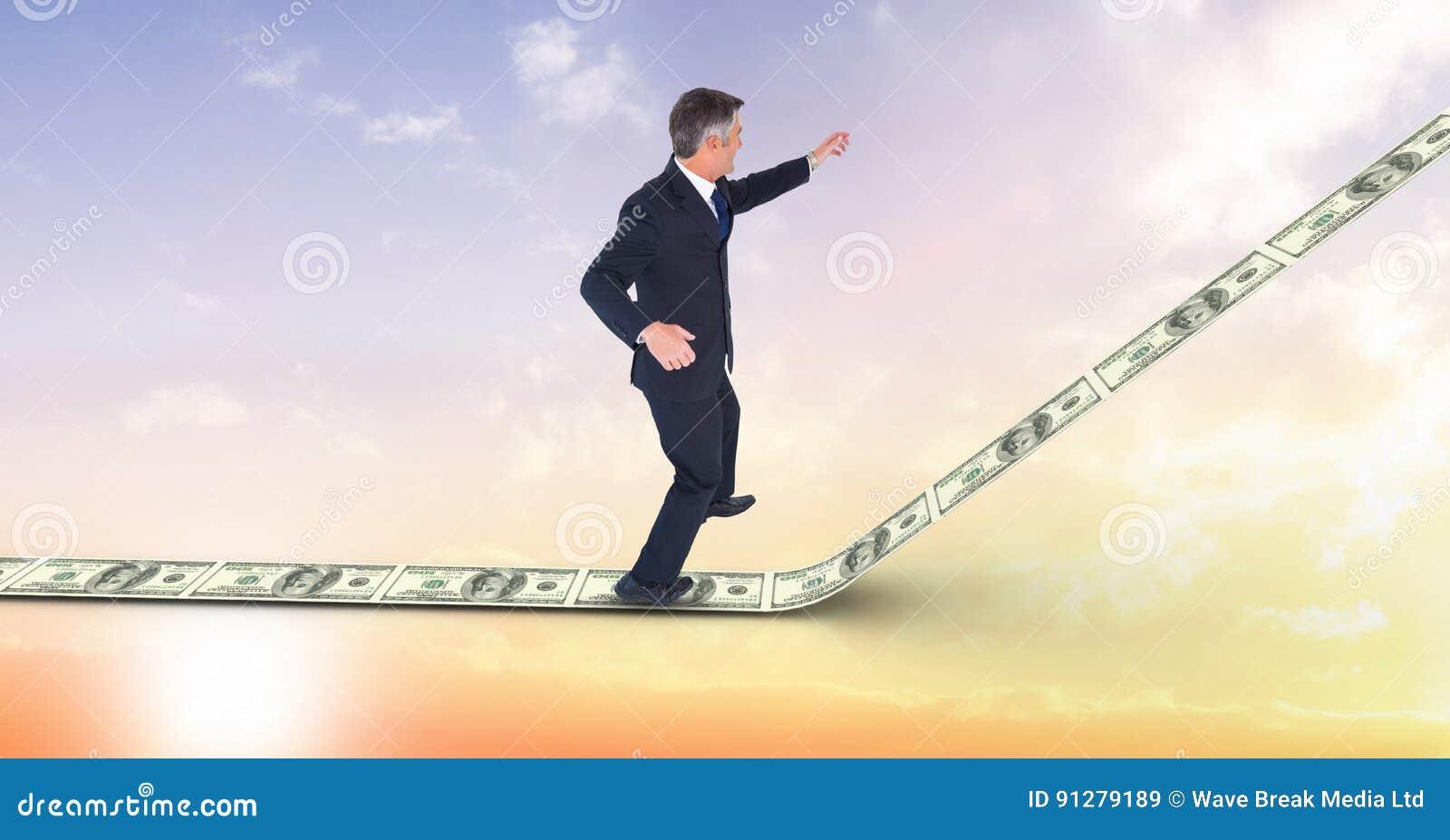 Digital sammansatt bild av affärsmananseendet på pengargångbanan