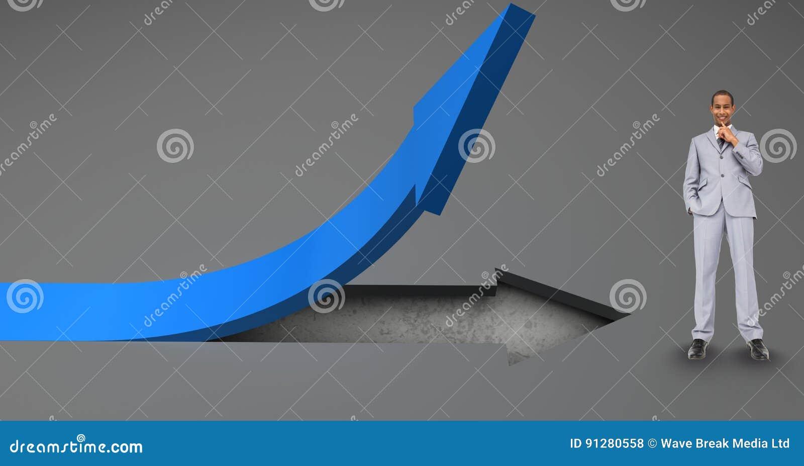 Digital sammansatt bild av affärsmananseendet vid det blåa piltecknet