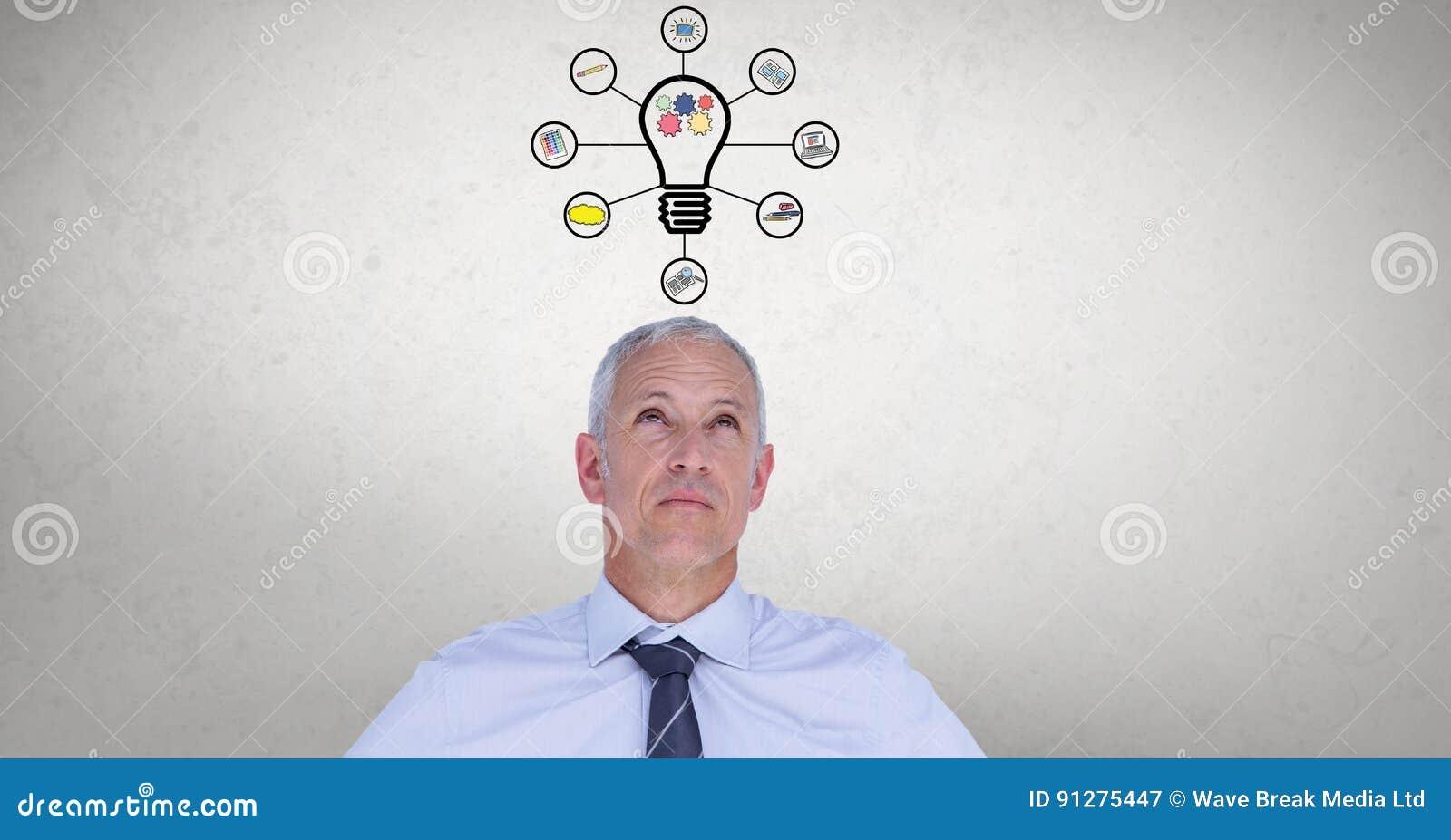 Digital sammansatt bild av affärsmannen med diagram för ljus kula