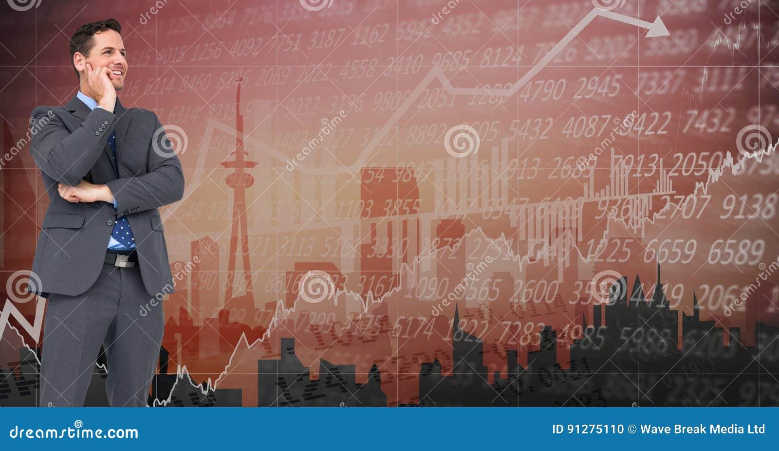 Digital sammansatt bild av affärsmannen mot grafisk bakgrund