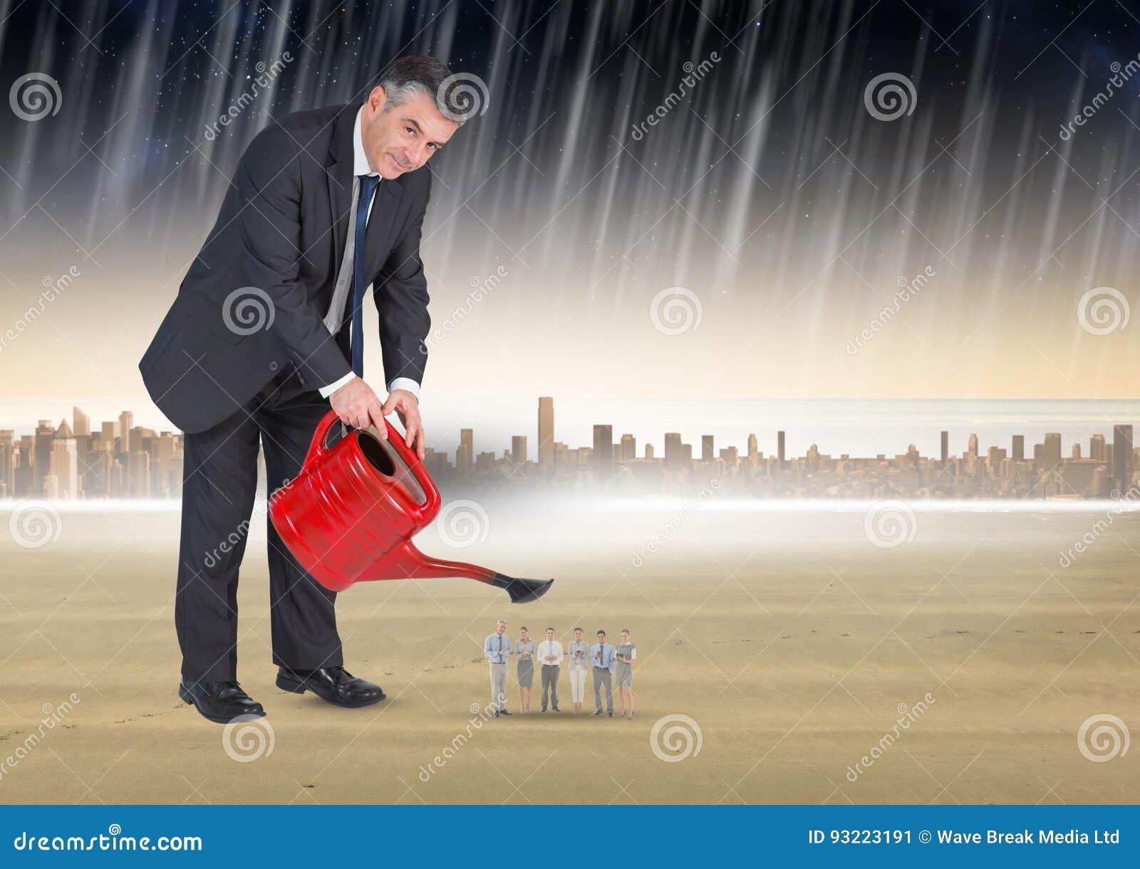 Digital sammansatt bild av affärsmannen som bevattnar affärsfolk i regn mot stad