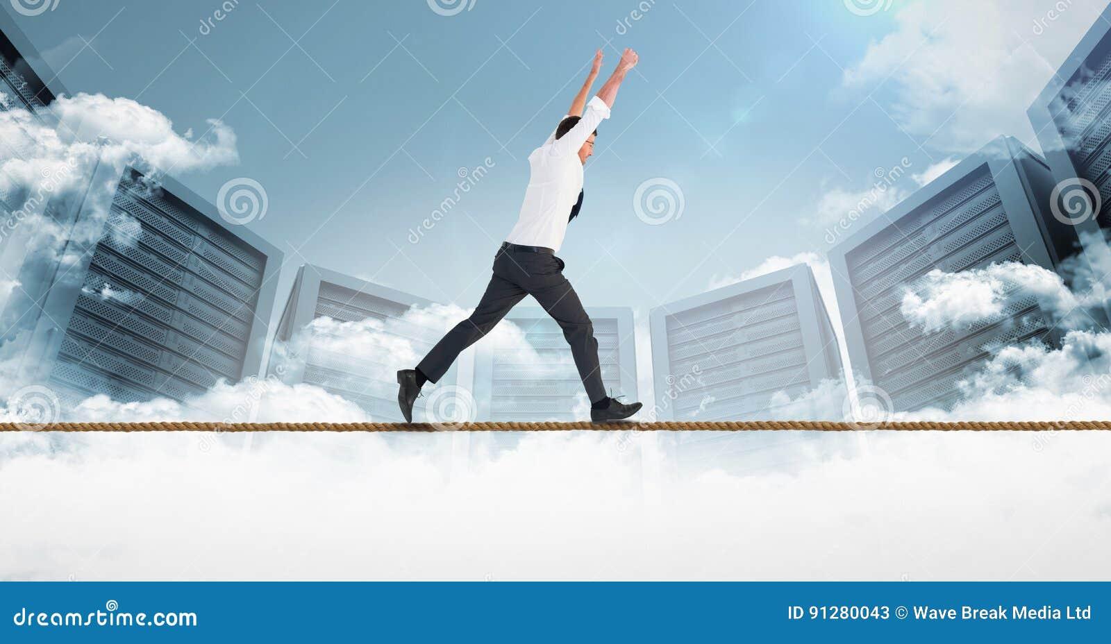 Digital sammansatt bild av affärsmanspring på rep mot serveror