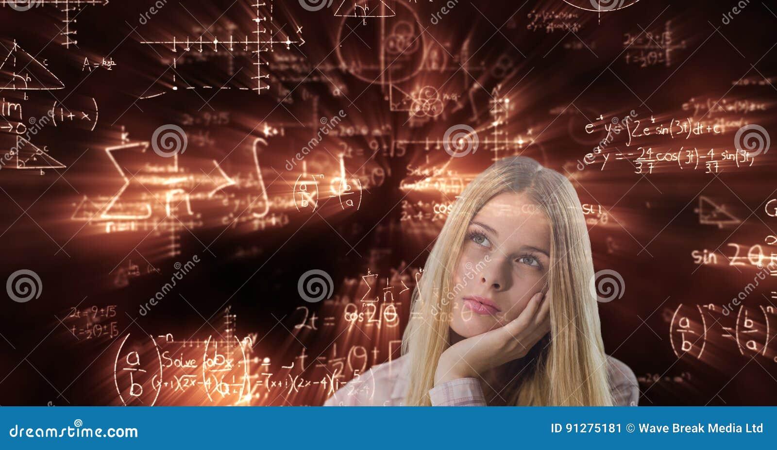 Digital sammansatt bild av den fundersamma kvinnan mot matematiklikställande i bakgrund