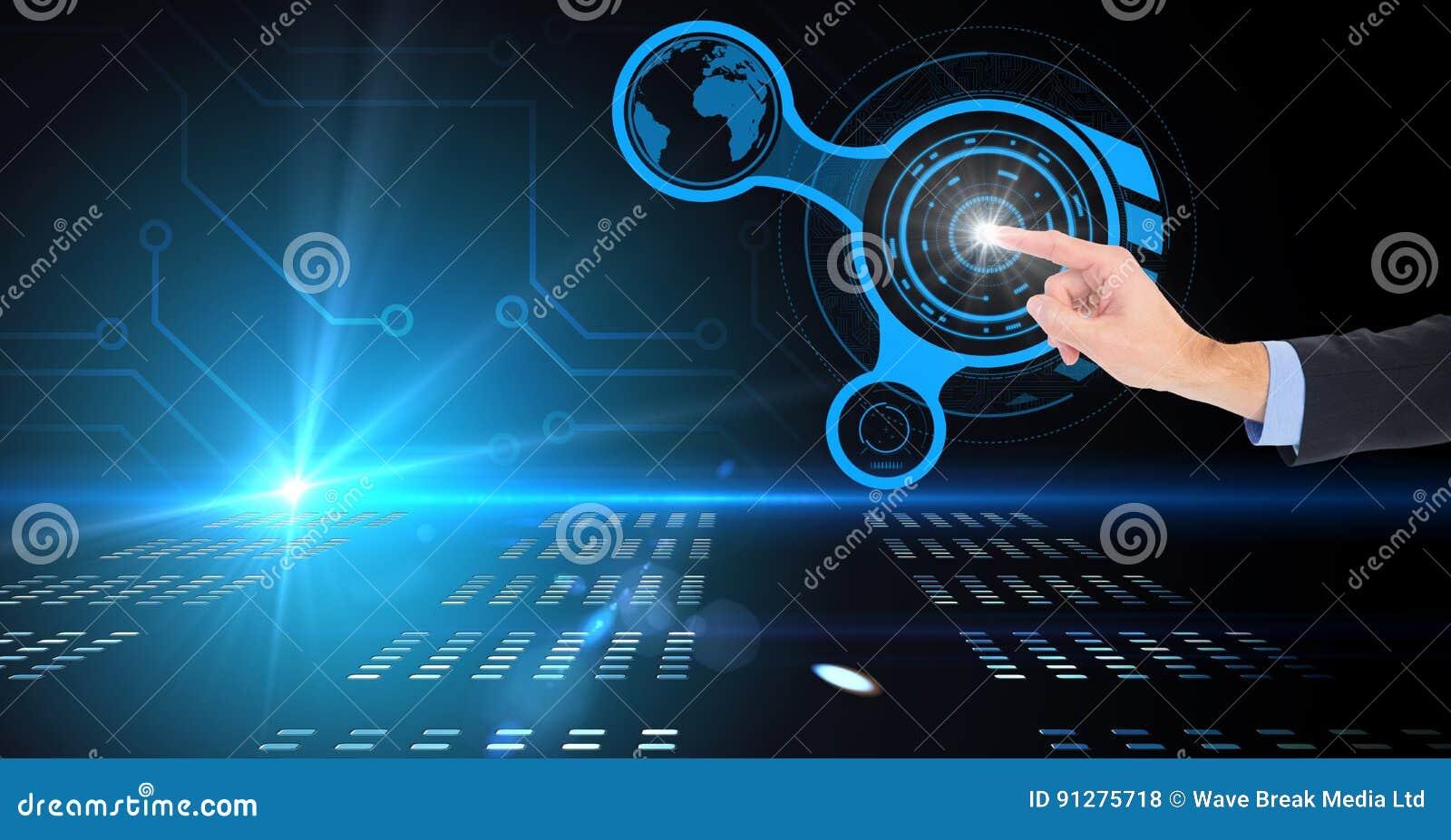 Digital sammansatt bild av den rörande faktiska skärmen för affärsman