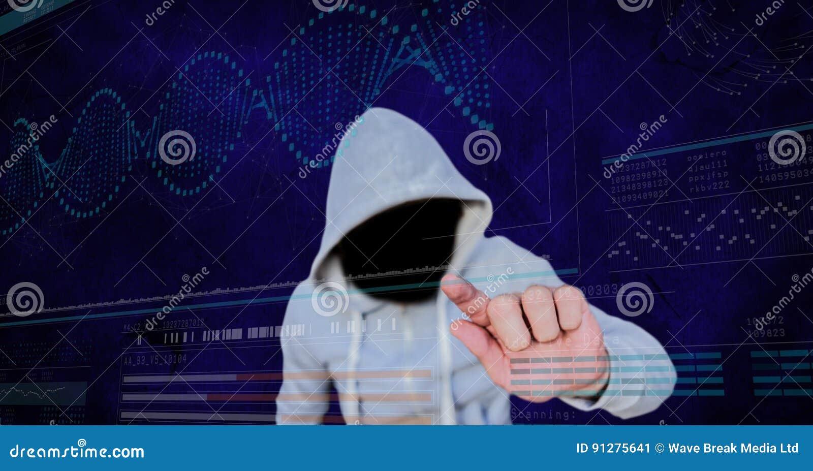 Digital sammansatt bild av den rörande skärmen för en hacker