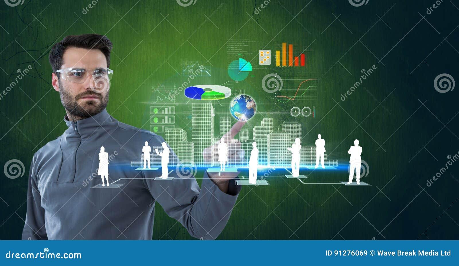 Digital sammansatt bild av den rörande skärmen för säker affärsman