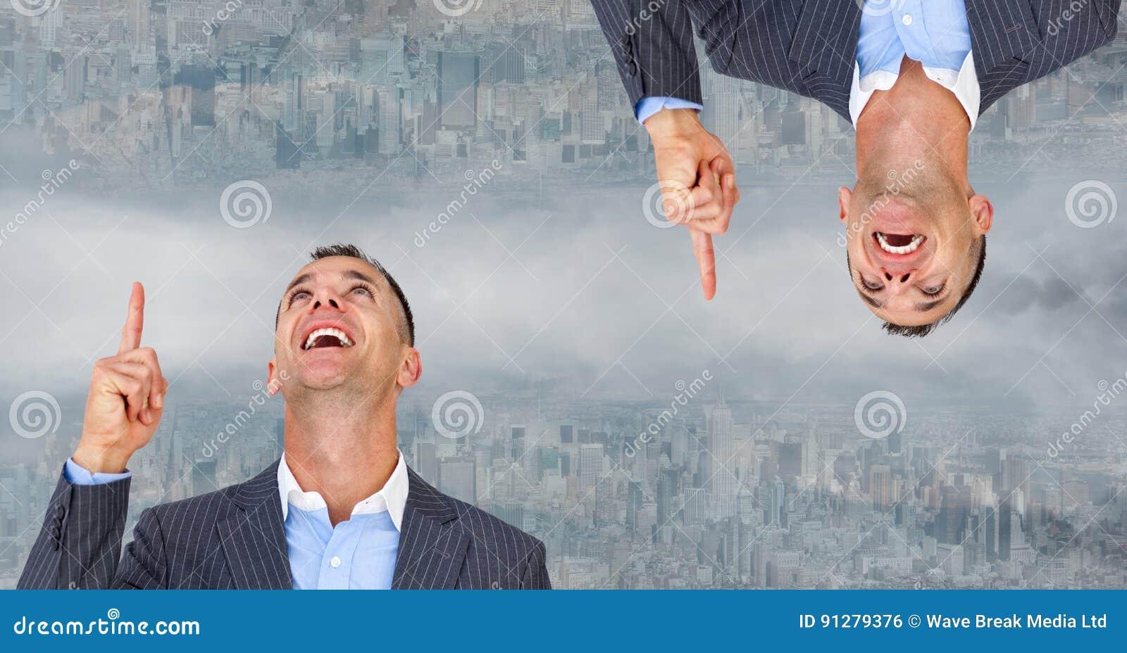 Digital sammansatt bild av den uppochnervända affärsmannen som pekar i stad