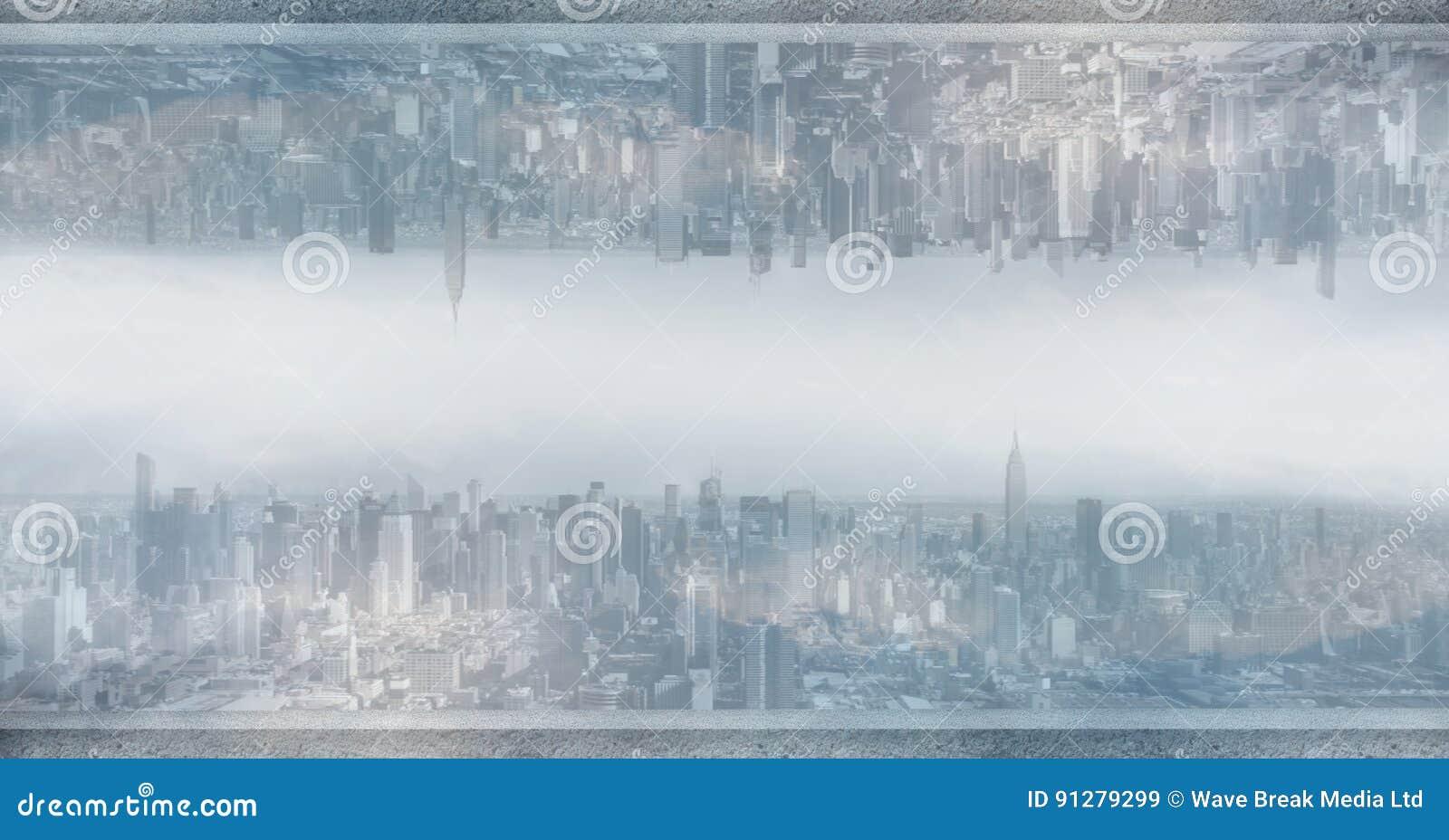 Digital sammansatt bild av den uppochnervända staden
