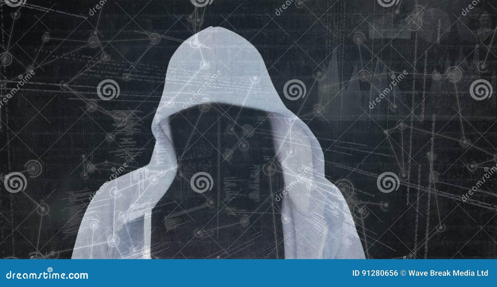 Digital sammansatt bild av en hacker på skärmen