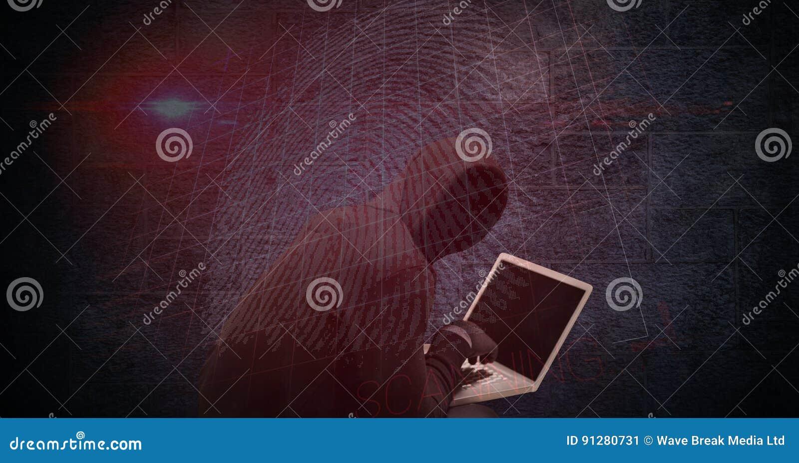 Digital sammansatt bild av en hacker som använder bärbara datorn med tummetrycket på skärmen