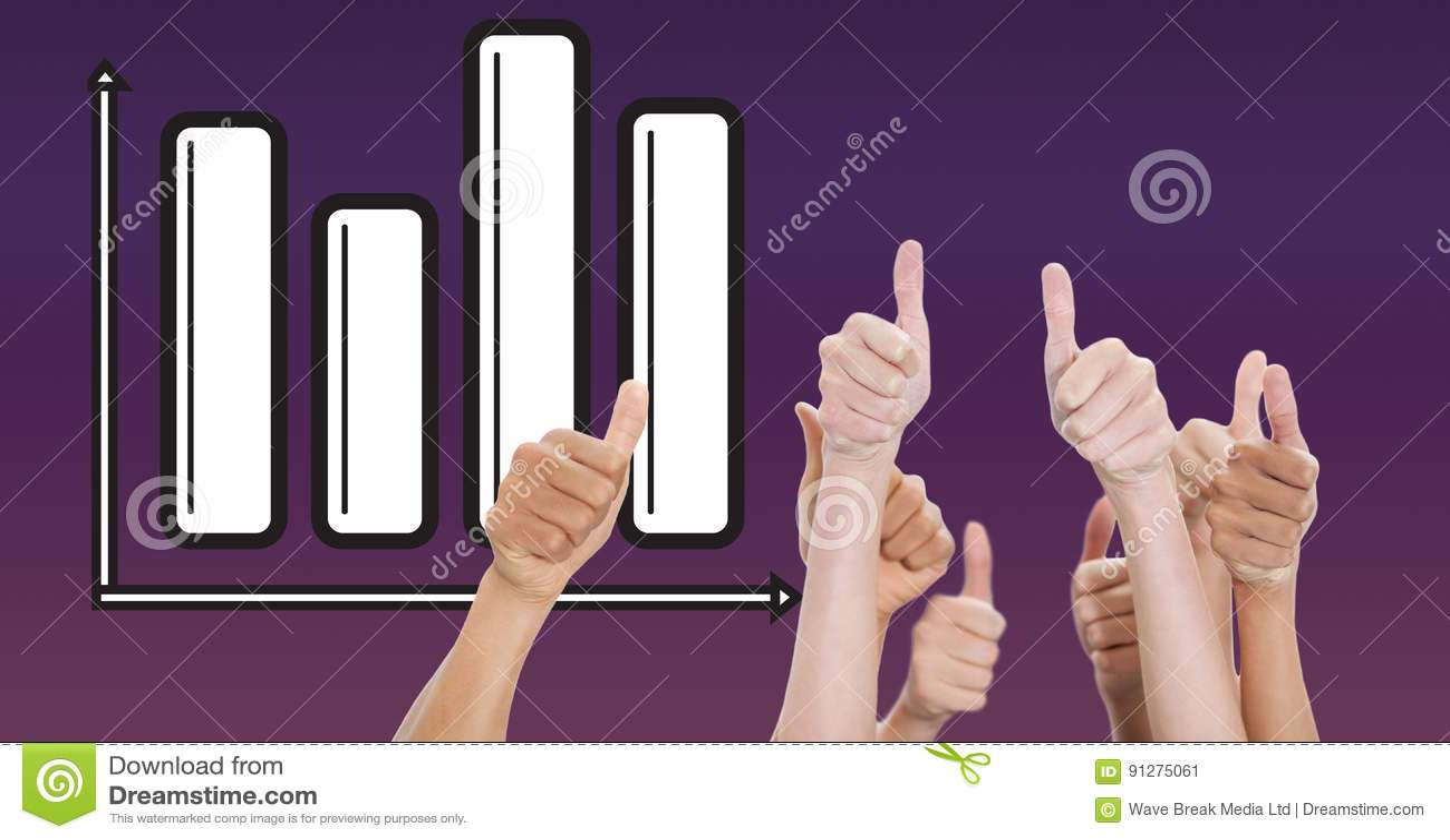 Digital sammansatt bild av händer som gör en gest tummar upp mot graf