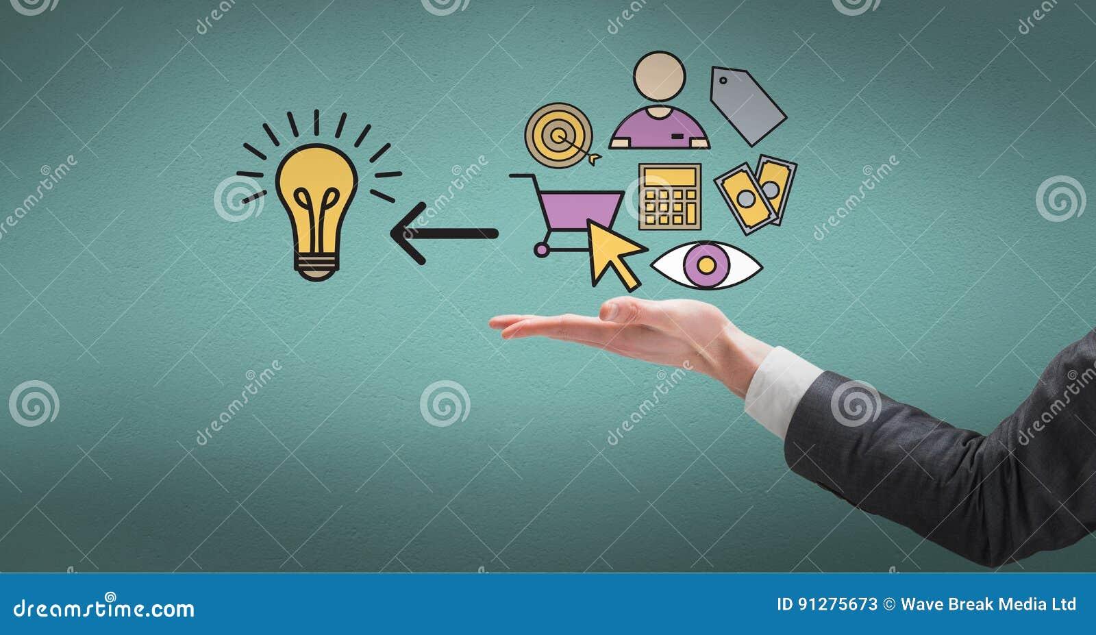 Digital sammansatt bild av handen för affärsman` s med idésymboler