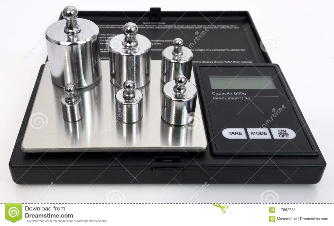 Scale Calibration Weights >> Digital Scale With Calibration Weights Stock Image Image Of Object