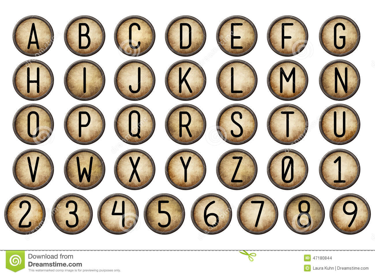 Old fashioned typewriter keys 82