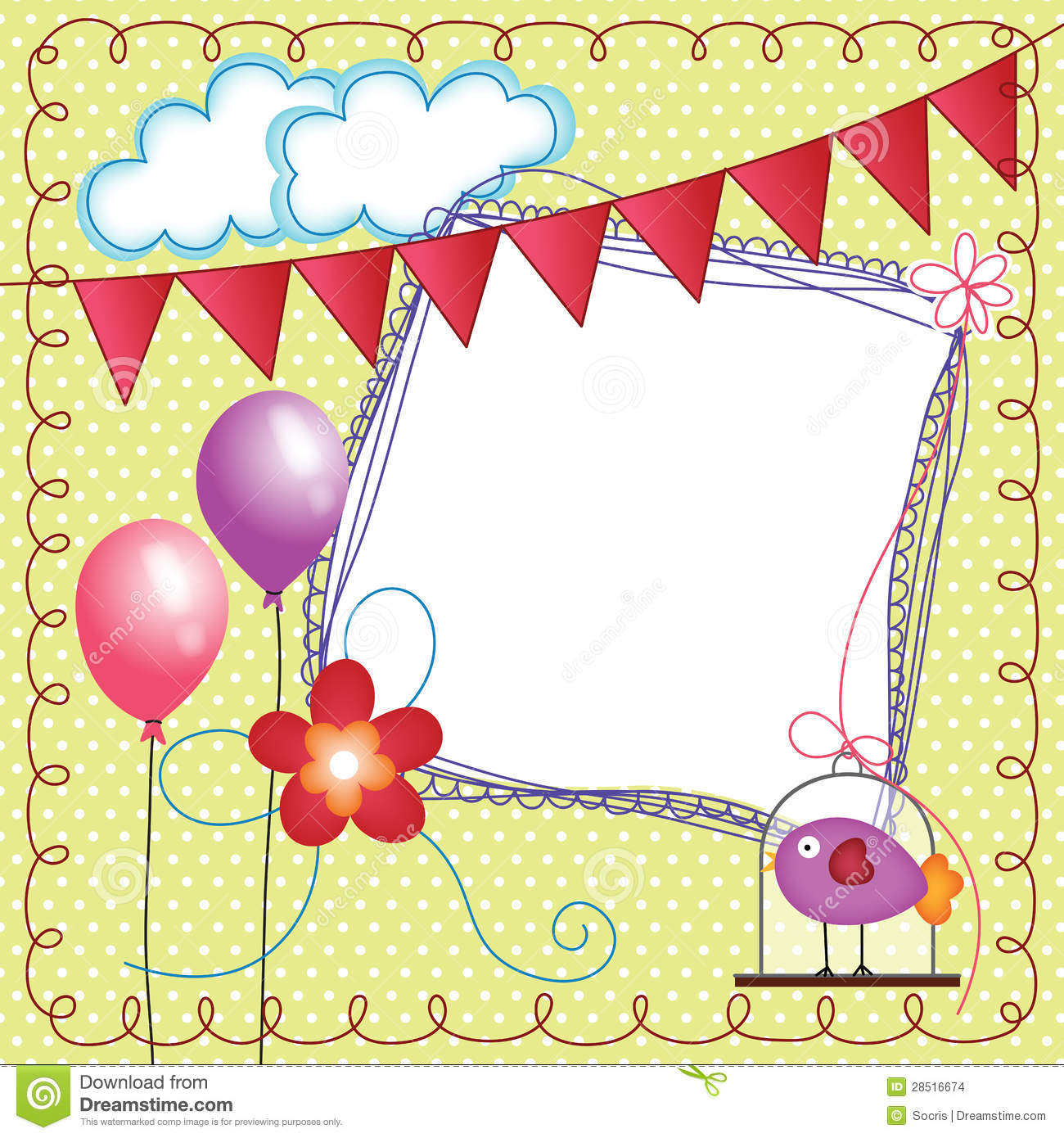 digital scrapbook layout photo frames with bird cage stock