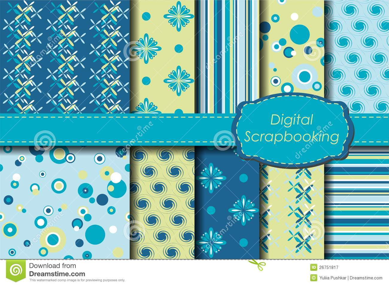 Digital Scrapbooking Paper Set Stock Vector Illustration Of