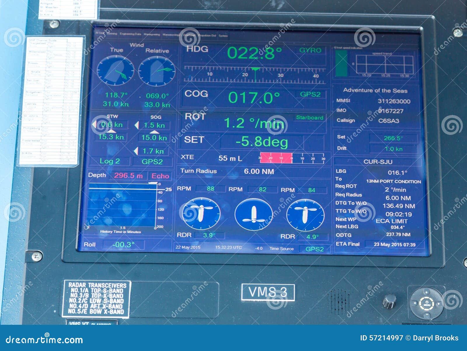 Digital Screen On Cruise Ship Bridge Stock Image Image - Cruise ship controls