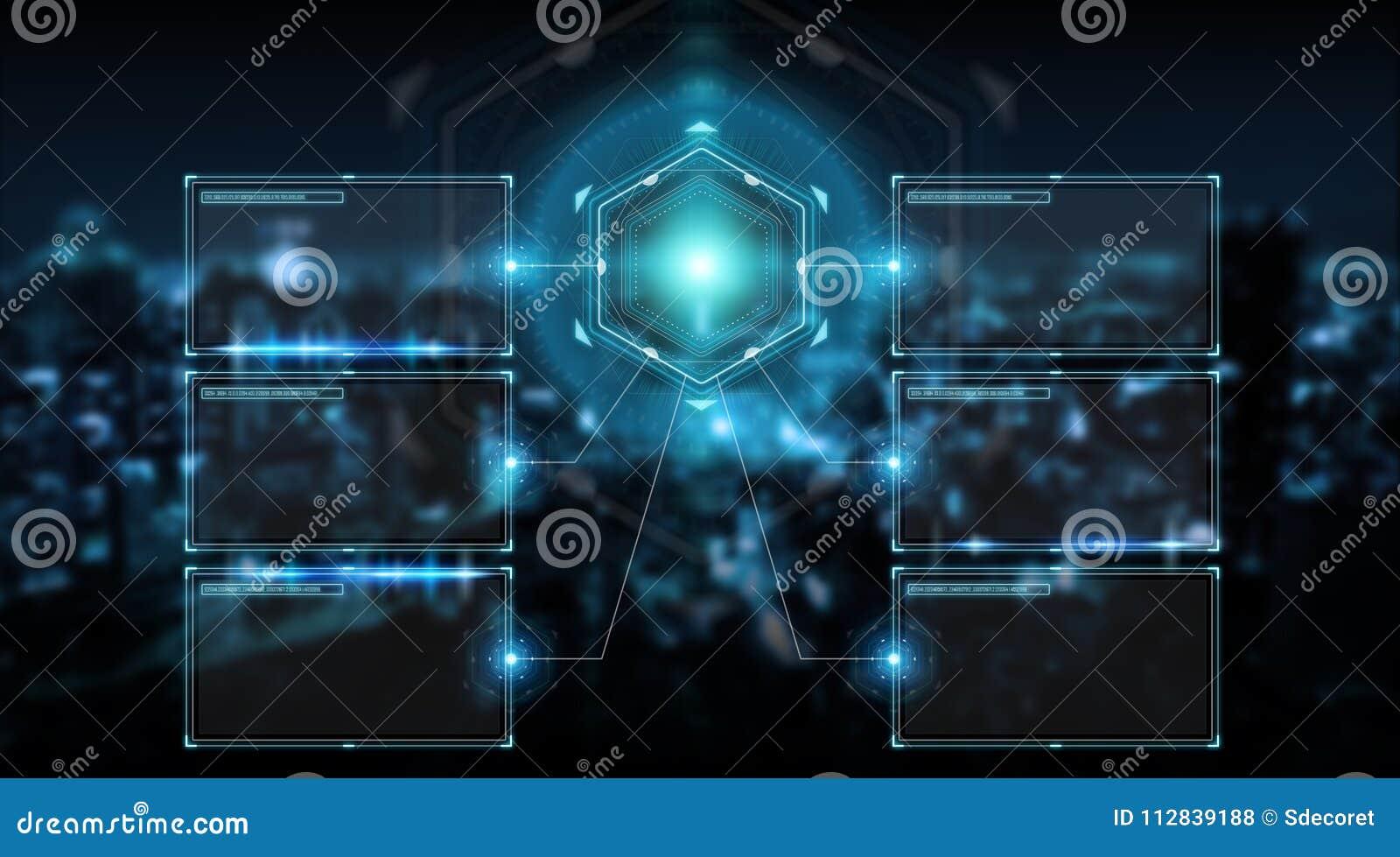 Digital screens interface with holograms datas 3D rendering