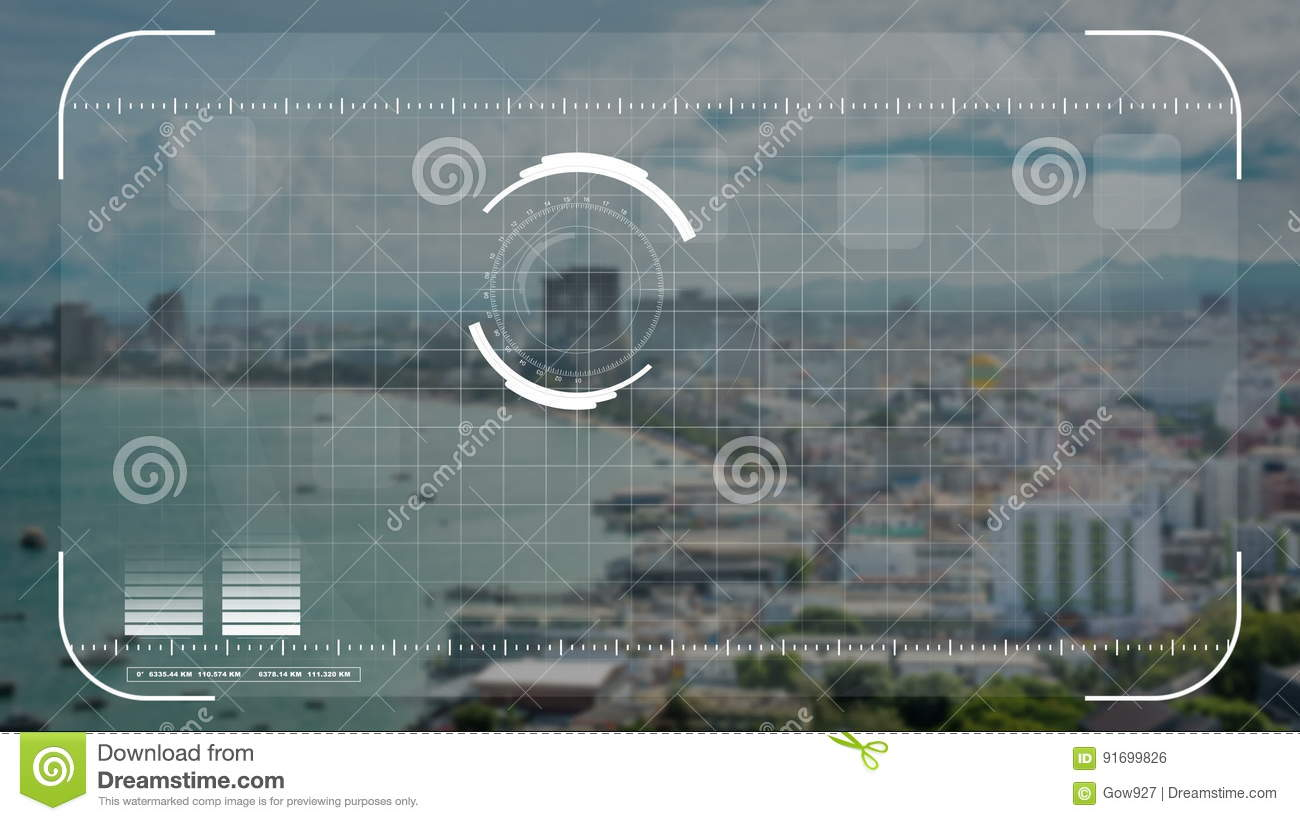 Digital Security Drone Camera Or Hologram Scanning Technology Lock On Seaside City In Business And Military Observation Concept Stock Footage