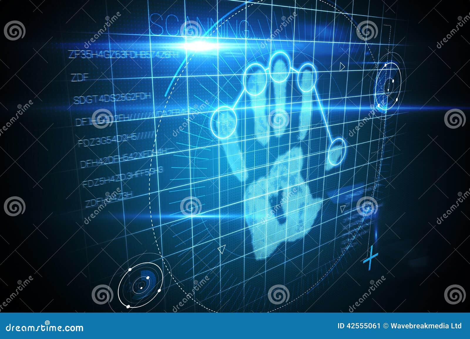 Digital Security Hand Print Scan Stock Illustration