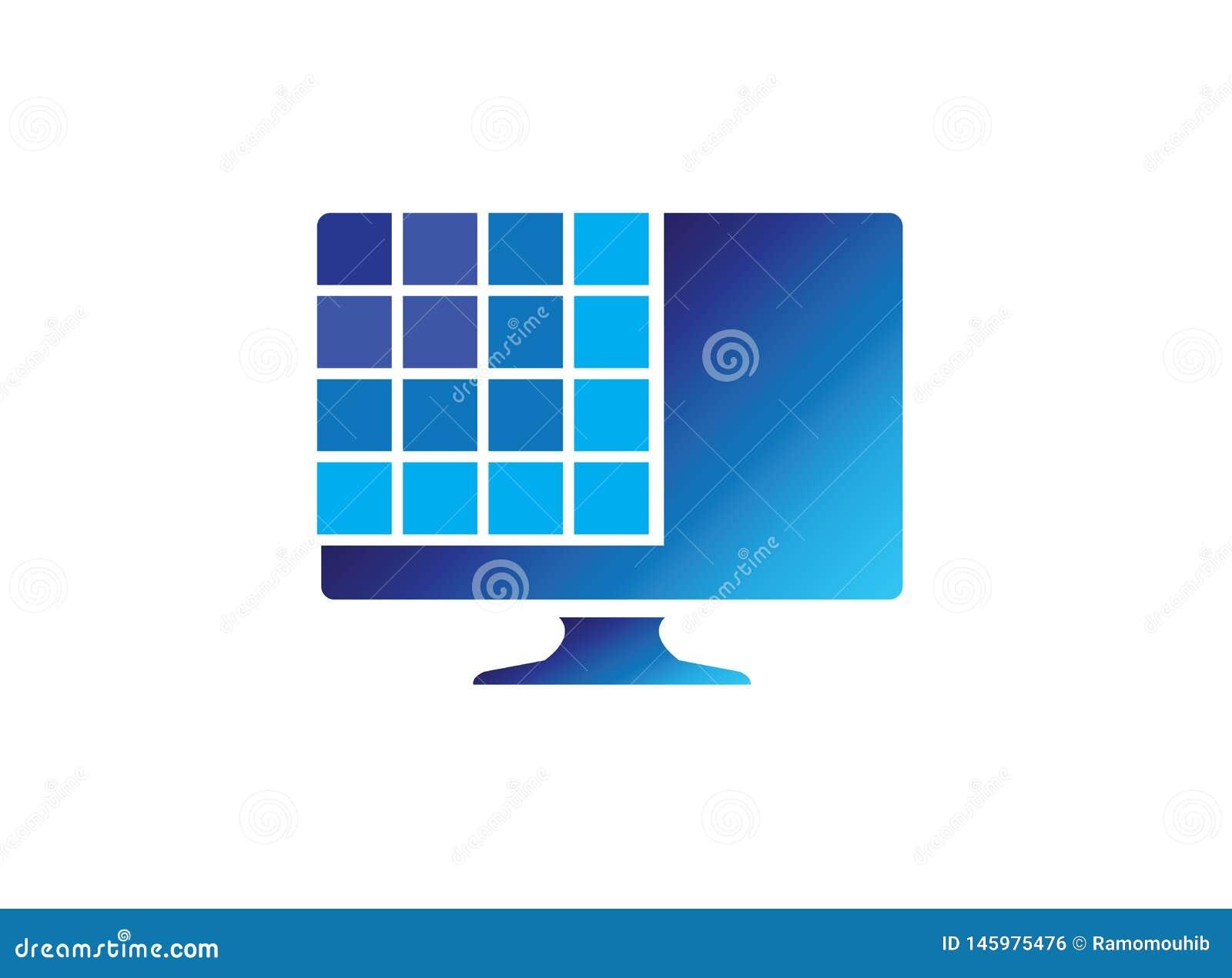Digital sk?rm med fyrkanter f?r logodesignillustrationen, anslutningssymbol, b?rbar datorreparationssymbol
