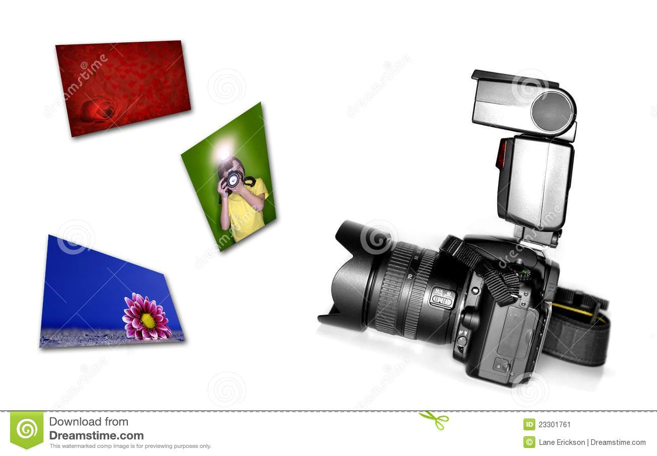 Download Digital SLR Camera With Flash Stock Image - Image of image, photograph: 23301761