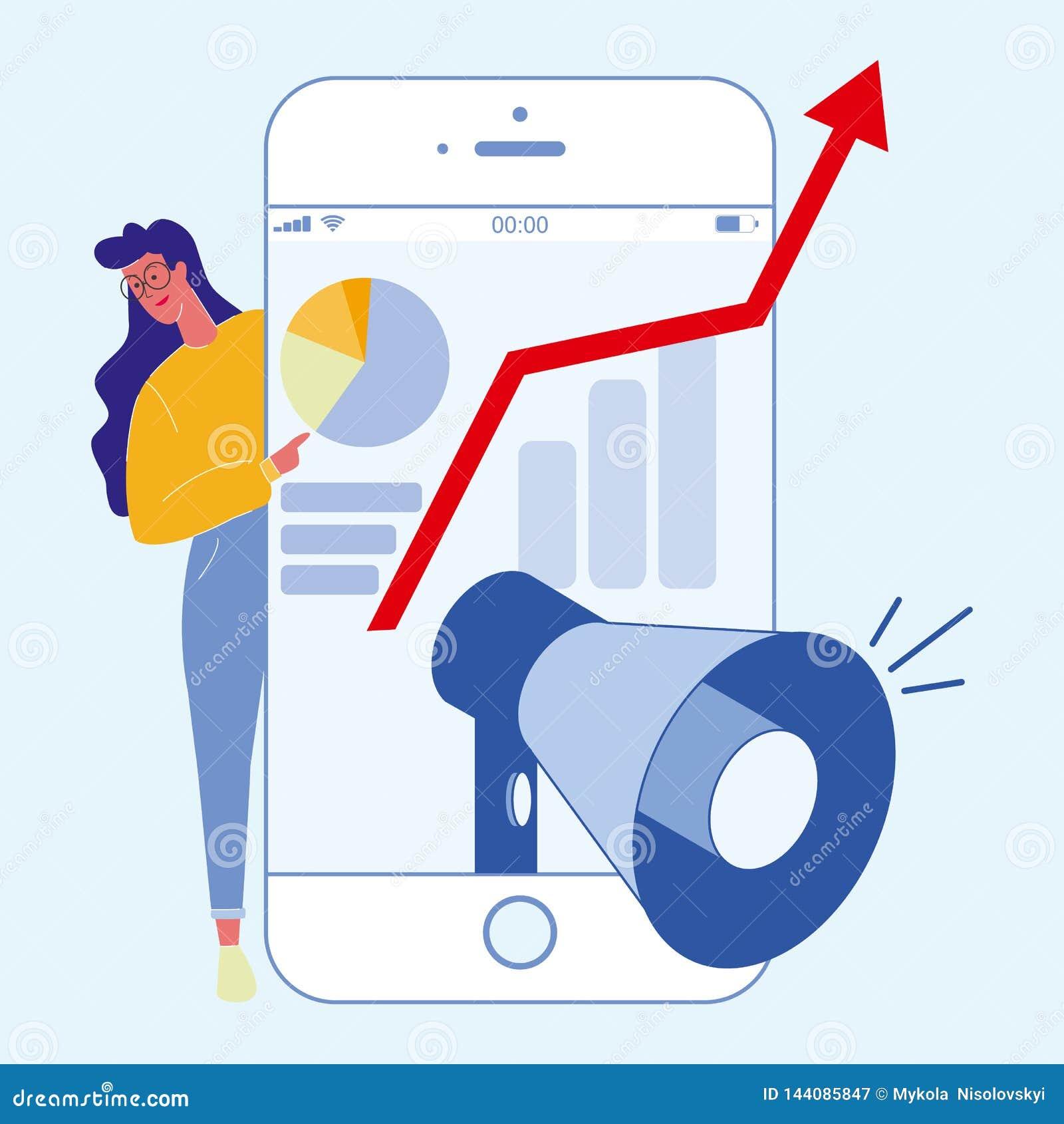 Digital, Social Media, das flache Illustration vermarktet