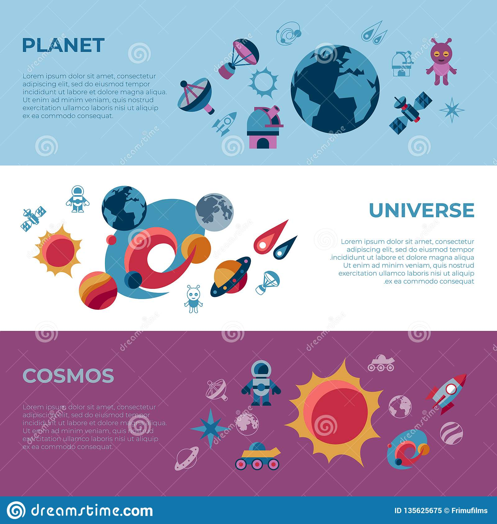 Digital space galaxy and universe icons