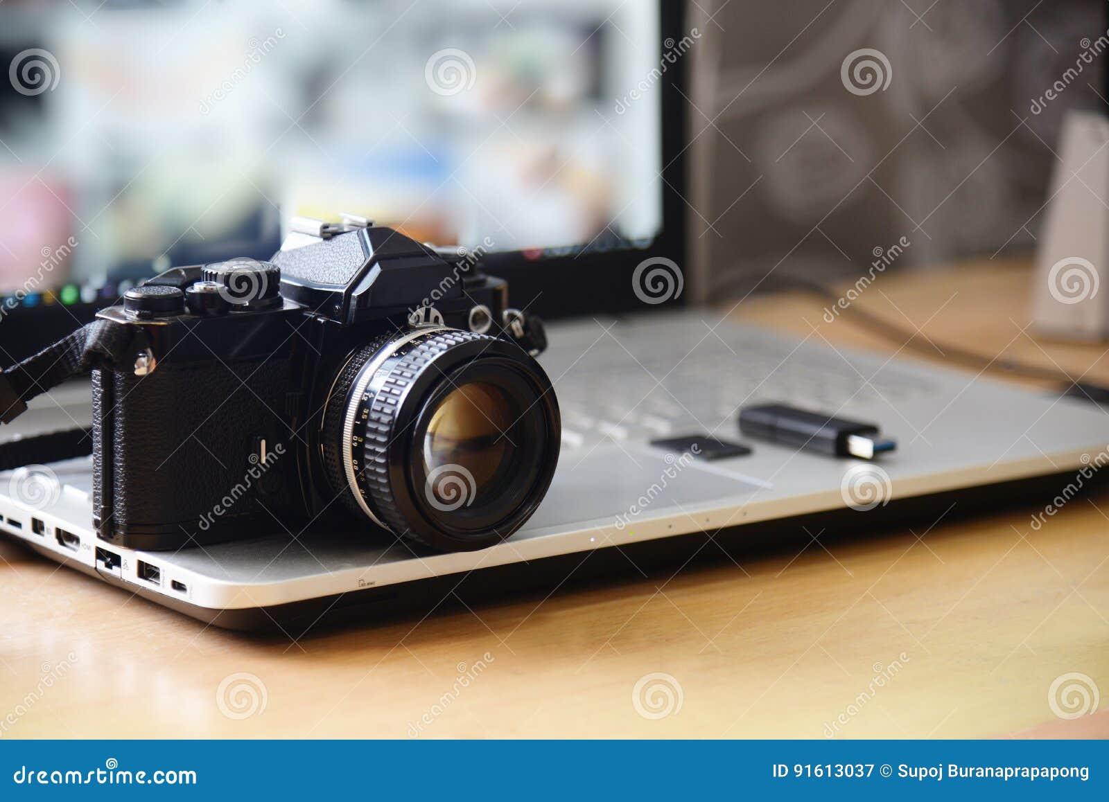 Digital Studio Photography Workstation. Retro film DSLR Camera,
