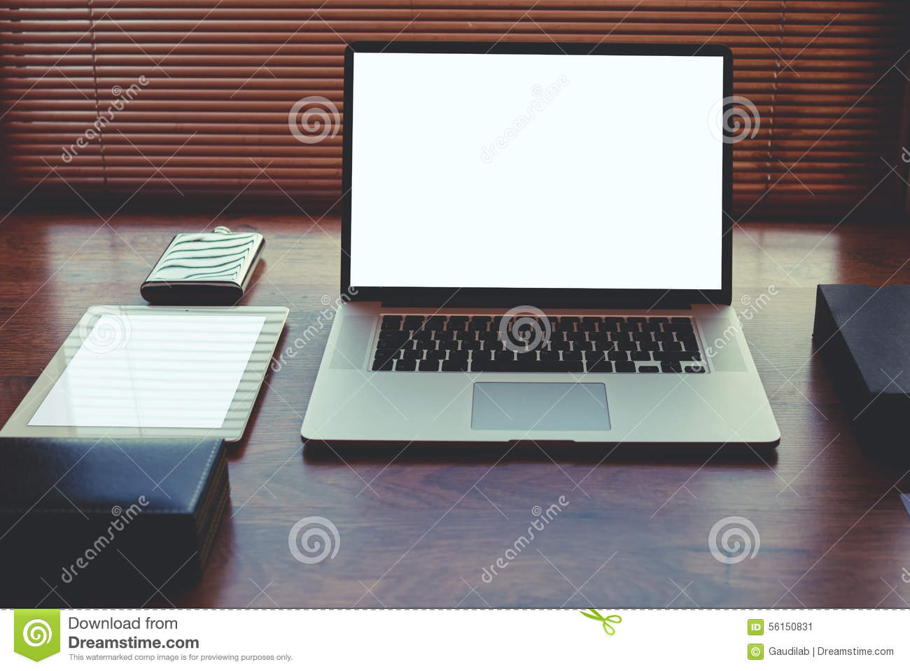 Digital Tablet And Accessories At Modern Workspace Of Freelancer Hipster Loft Stock Photo