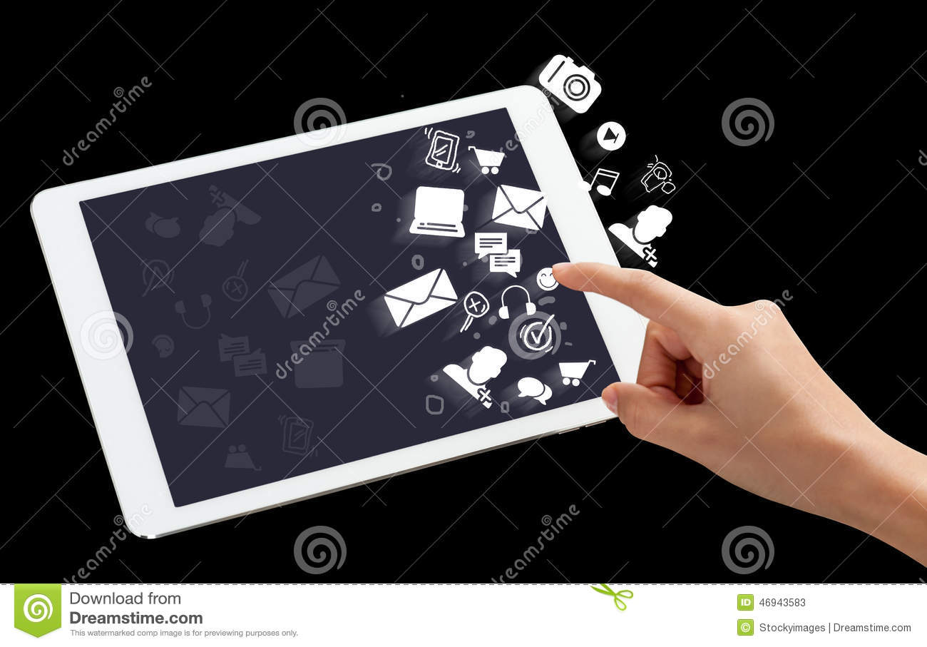 Digital tablet with application icons