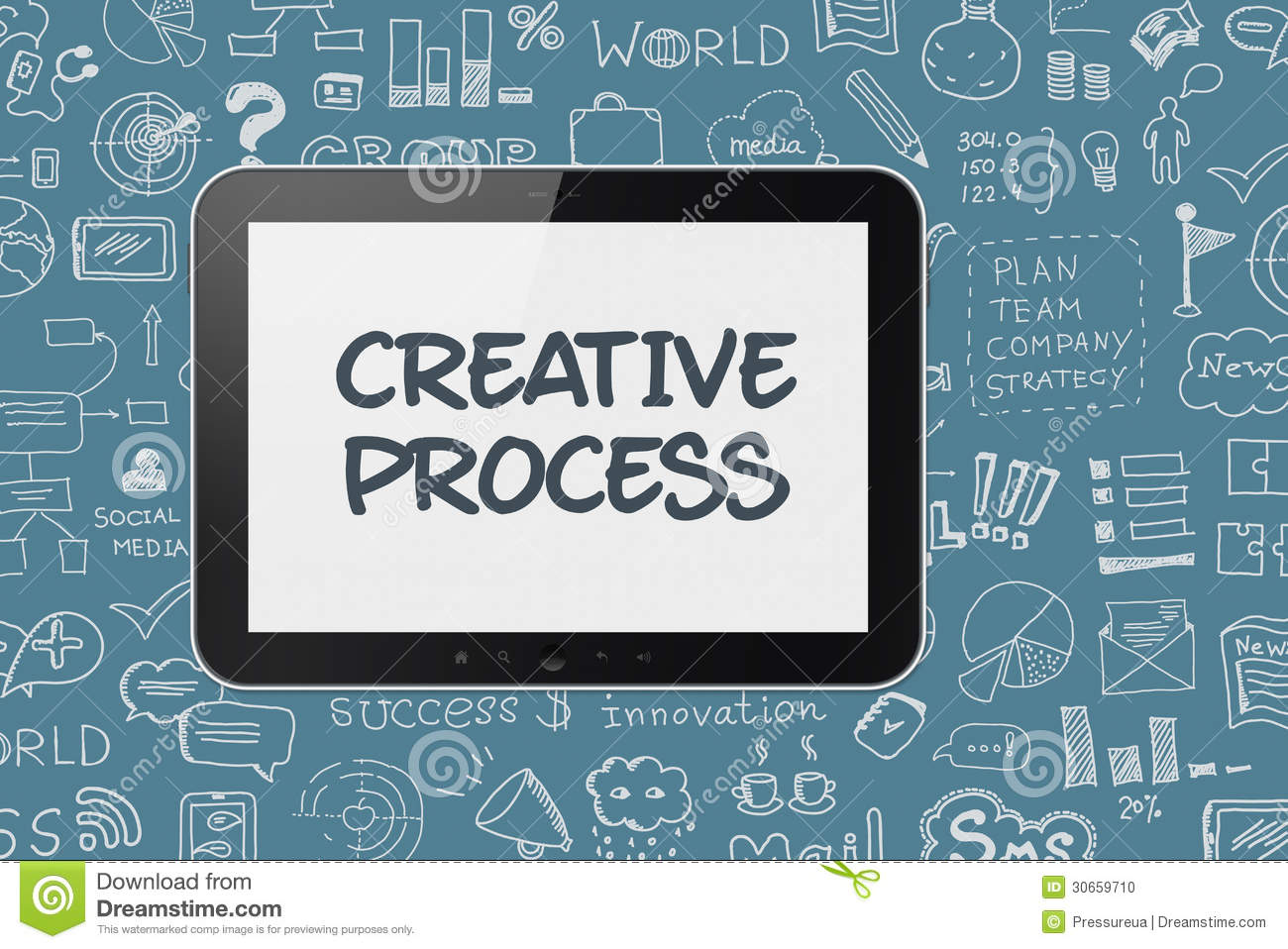 Digital Tablet With Brainstorming Process Background Stock Photo  Image  30659710
