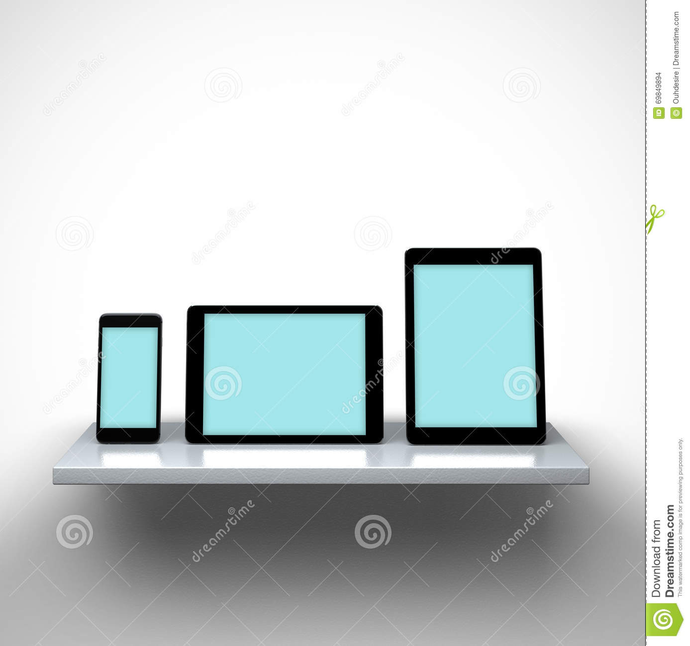 Digital Tablet Computers And Smart Phone On A Shelf
