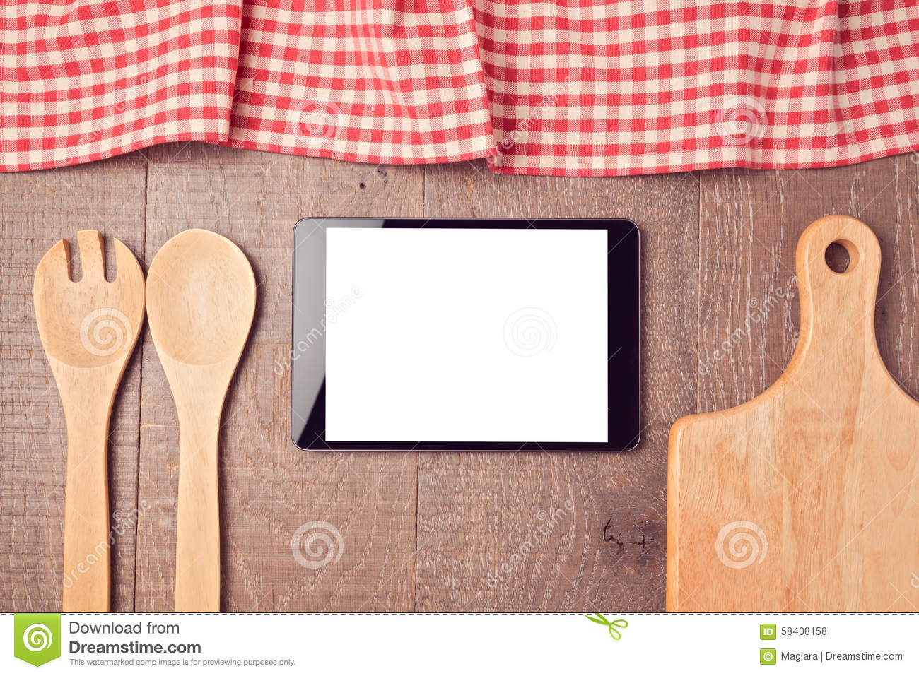 digital tablet mock up template with kitchen utensils and tablecloth