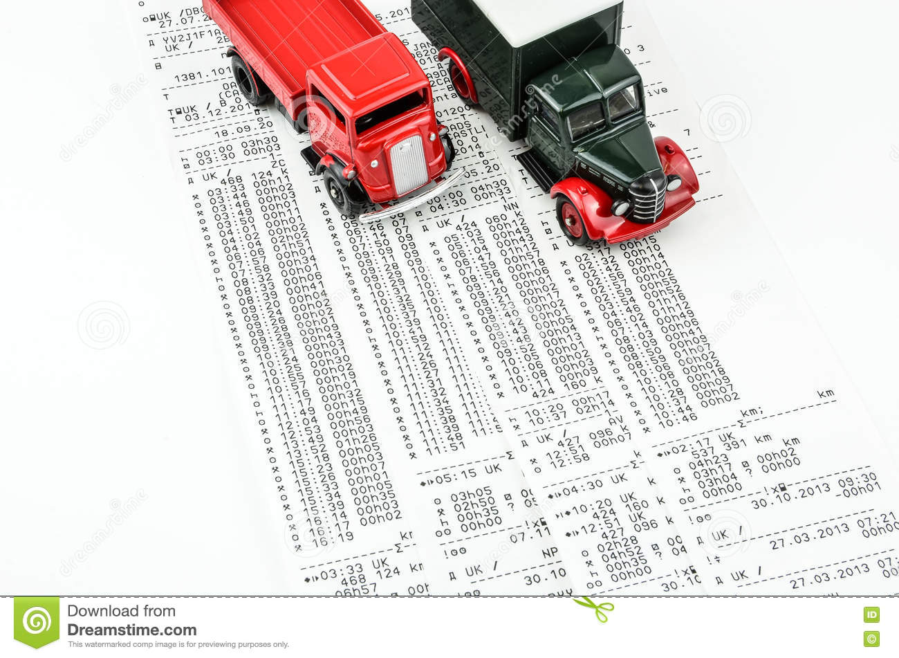 digital tachograph print out day shift stock photo image 71328581