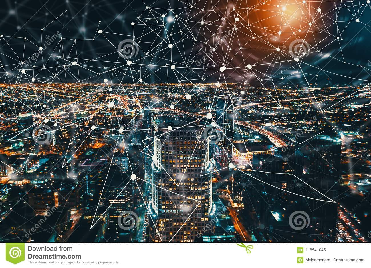 Digital Tech Circle With Downtown Los Angeles Stock Image