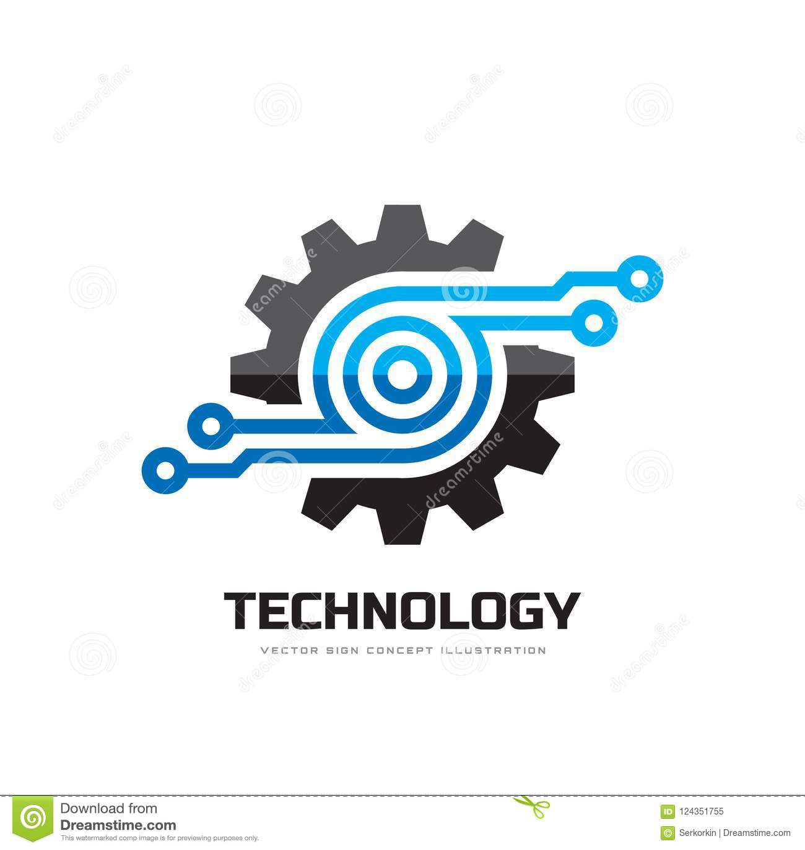 Digital tech - illustration för begrepp för mall för vektoraffärslogo Elektroniskt fabrikstecken för kugghjul Symbol för kuggehju