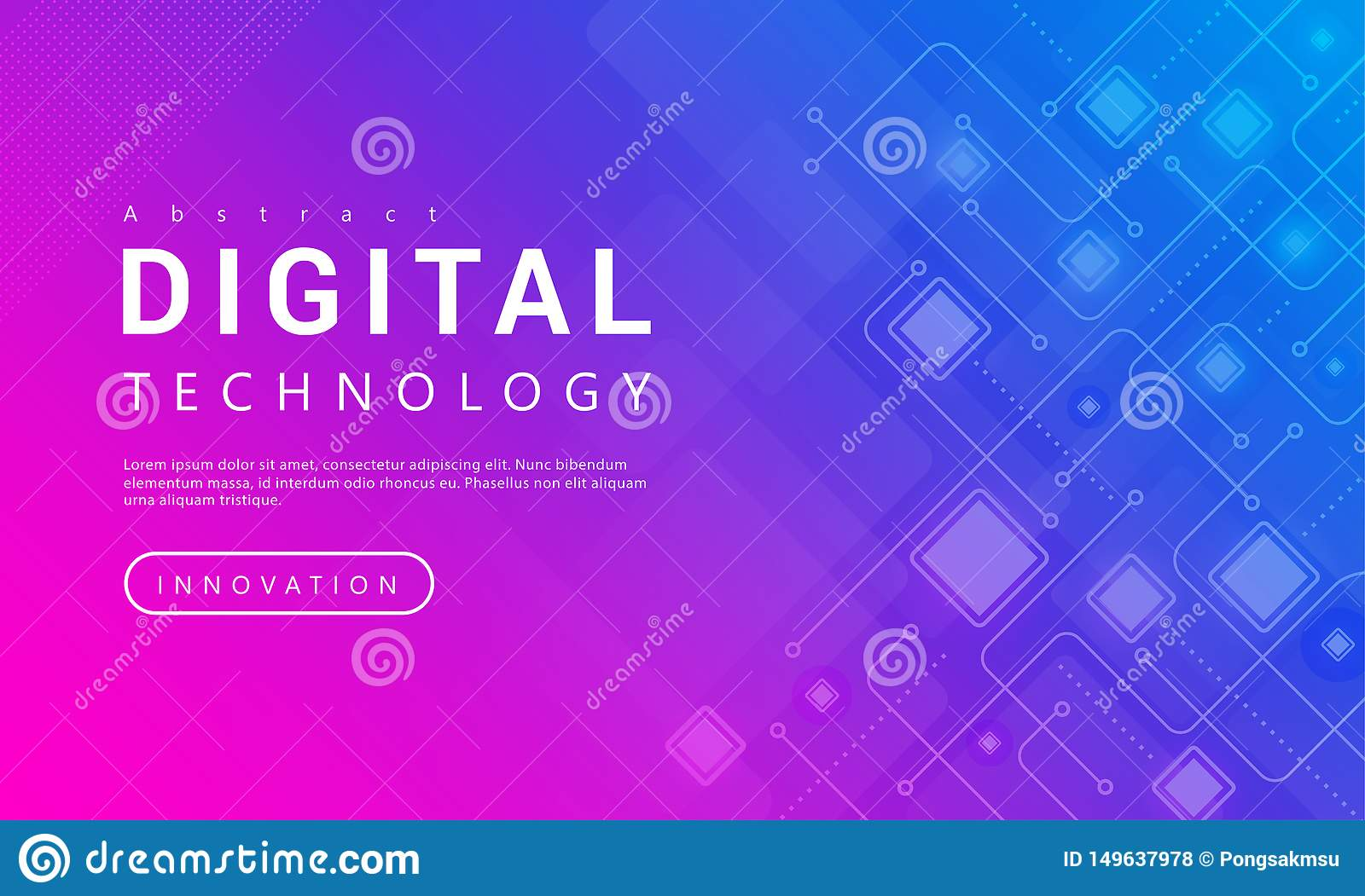Digital technology banner pink blue background concept with technology line light effects, abstract tech