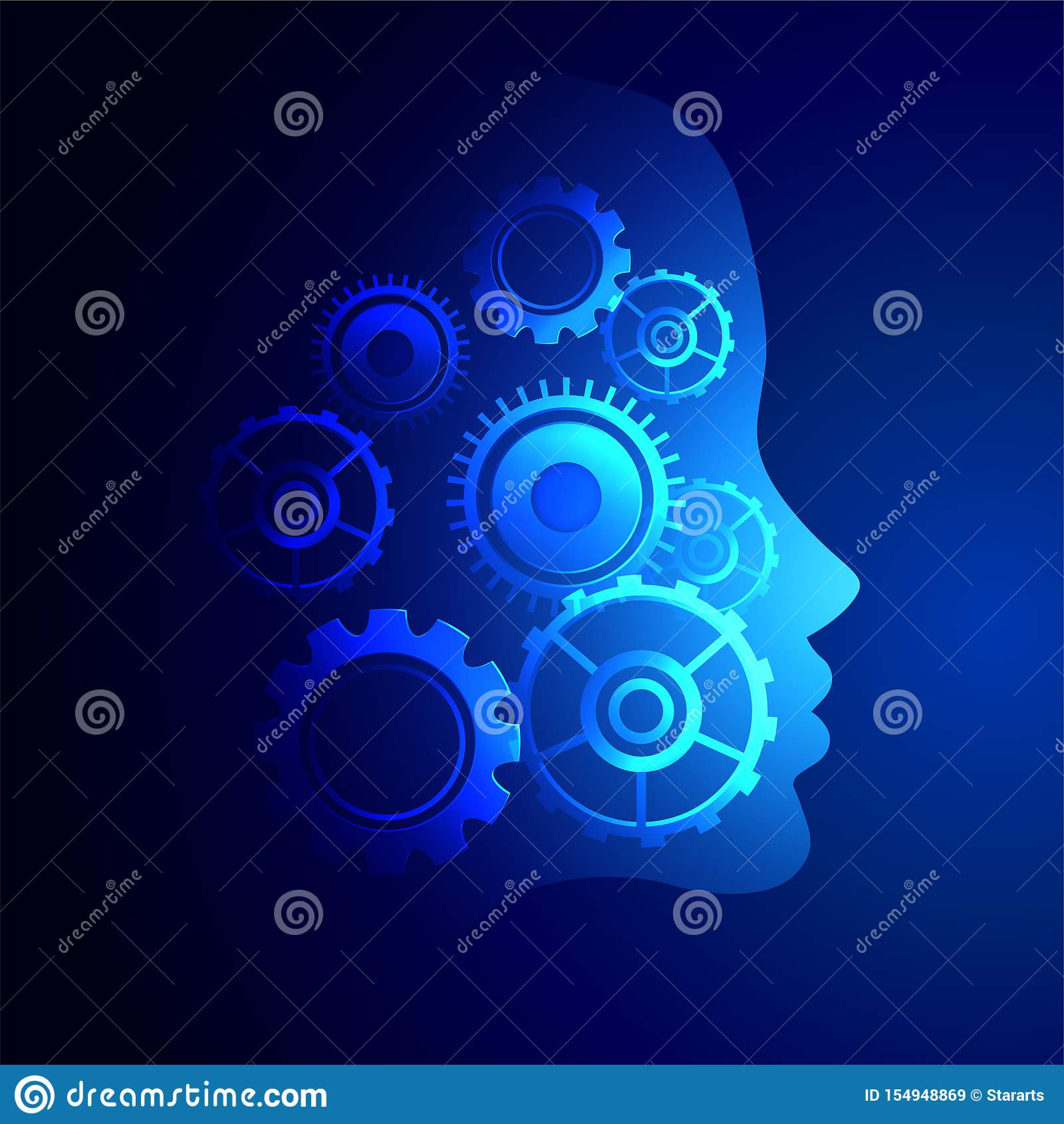 Digital Technology Face With Gears Symbols Background