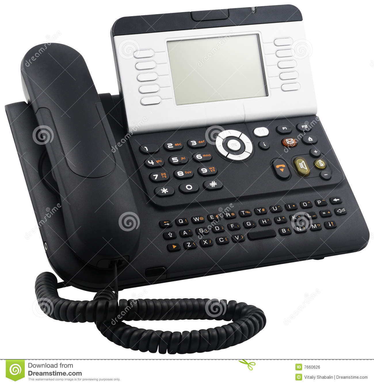 Digital Telephone Set, 10 Soft Keys Stock Photo - Image of