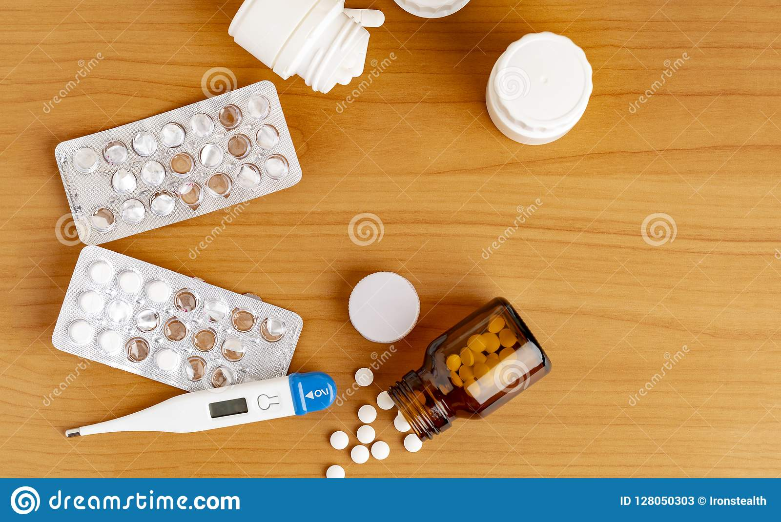 Digital thermometer and various medicine