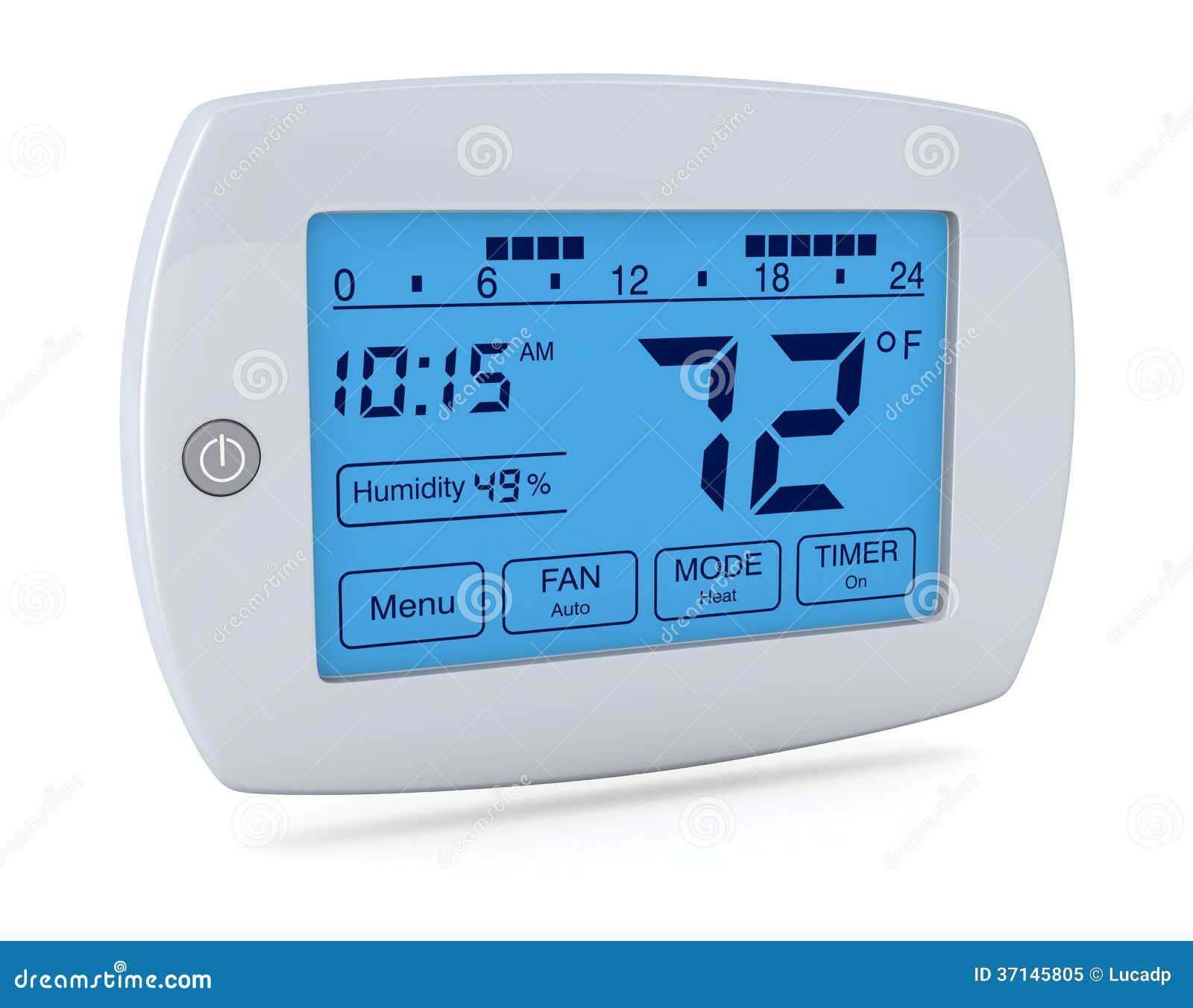 Closeup of a digital programmable thermostat (3d render). #000D47