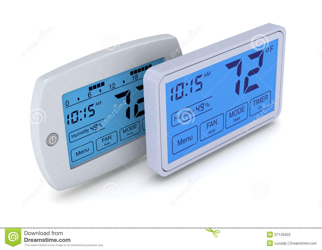Top view of two digital programmable thermostats (3d render). #1E65AD