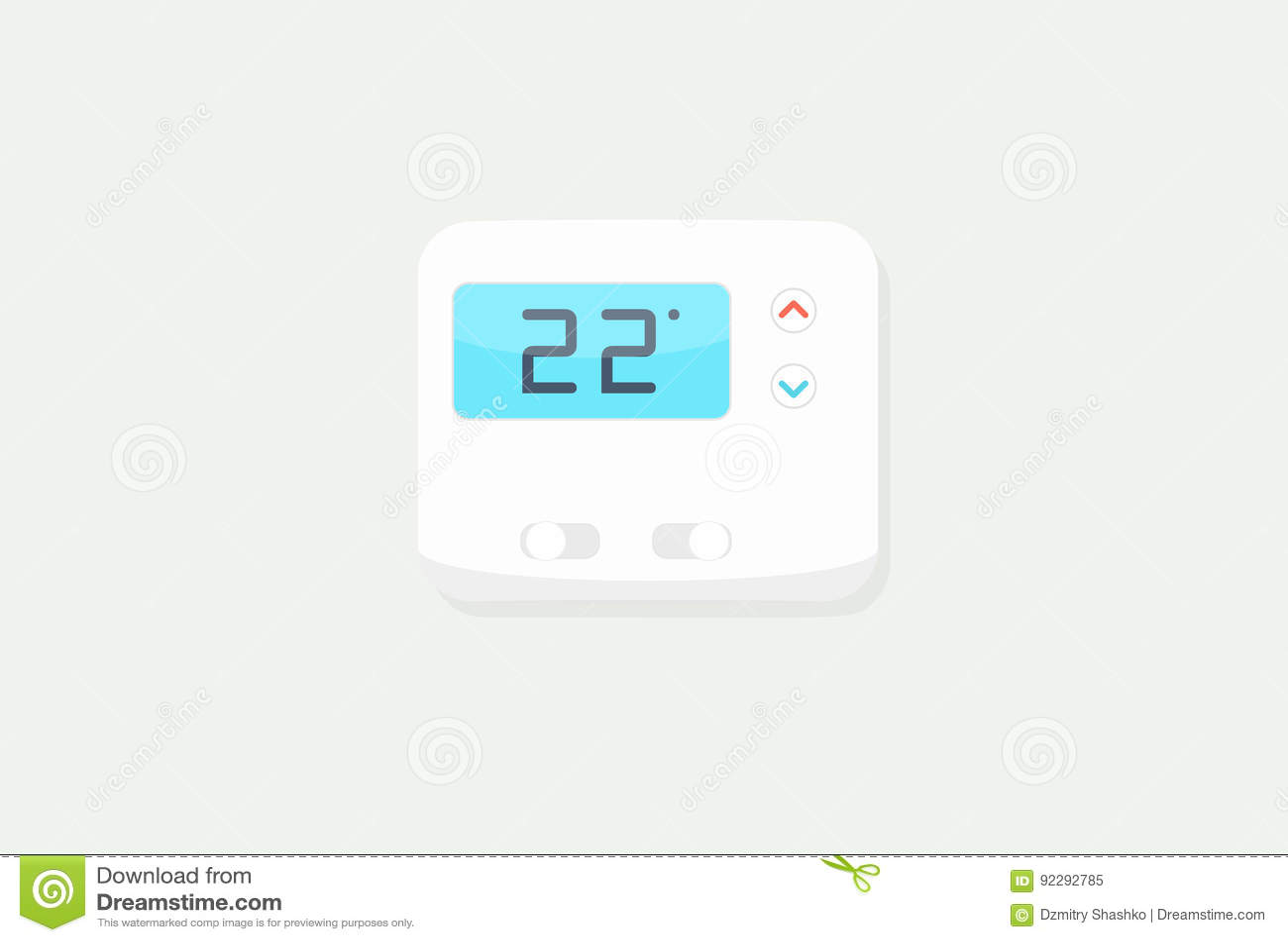 Digital Thermostat On White Background Stock Vector Illustration